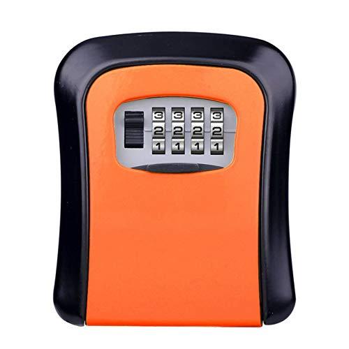 Caja de llaves montada en la pared con cerradura de combinación de 4 dígitos, caja de almacenamiento para puerta de casa, caja fuerte (tamaño: 115 x 39 x 95 mm; color: naranja)