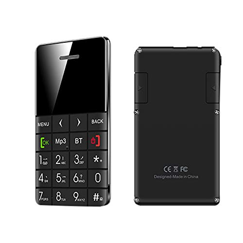 Unlocked 2G GSM Mobile Phone with Free Earphone - Q5 English Keyboard BT Vibration 0.96 Inch Mini Ultrathin Credit Card Cellphone Super Long Standby Time,with Gift Box (Black)