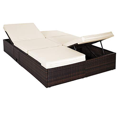 Deuba | Bain de Soleil Double • 2 Personnes • Polyrotin Brun • Tables + Coussins Beige 7 cm • dossiers et Pieds réglables | Transat Double, Chaise Longue, canapé