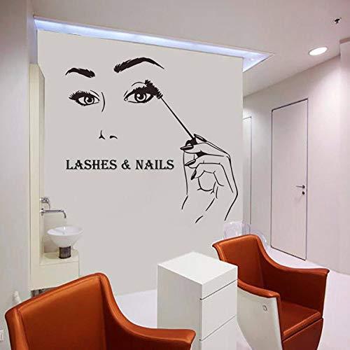 Pestañas y uñas tatuajes de pared salón de belleza manicura manicura chica mural vinilo pegatinas de pared moda ventana vidrio decoración