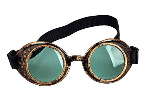ZAIQUN Steampunk Schutzbrille Schweißen Goth Cosplay Vintage, rustikal Rave Party Kostüm One Size grün