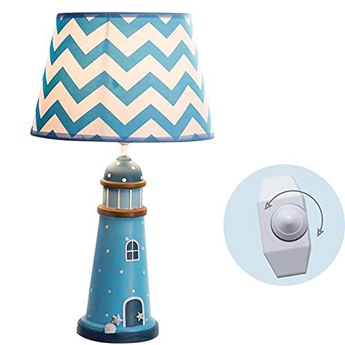 Lámpara de Mesa Lámpara de Escritorio LED para cuidar los Ojos, Linda lámpara de mesita de Noche, atenuación Continua, lámpara de Lectura para niños, Dormitorio, Sala de Estar, Estudio, Faro (Color: