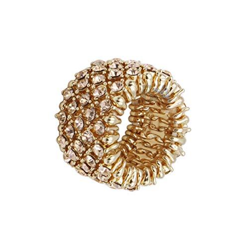 Venury Ring voor dames, goud en strass, roze, elastisch, eenheidsmaat, verstelbaar, elegant en geraffineerd