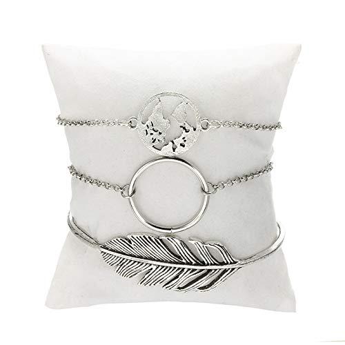 Delicate girl-shouzhuo 3 Pcs/Set Böhmische Metall Silber Armband Blatt Ring Karte Form Kette Geometrische Armbänder Armreif Set Für Damen Schmuck