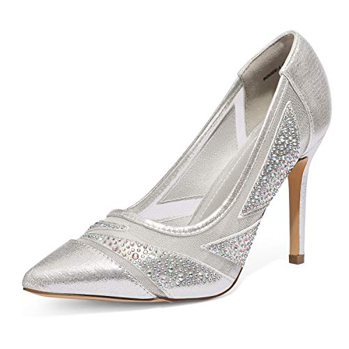 DREAM PAIRS Women's Silver Pearl High Heel Pointed Toe Sparkly Mesh Pumps Shoes Size 8 M US Rouge-1