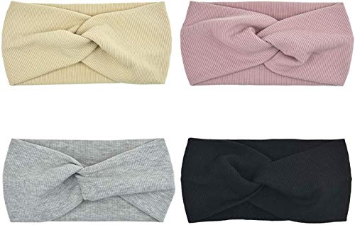 Sgualie 4 Pack Headbands Elastic Criss Cross Head Wrap Hair Band Cute Hair Accessorie,Beige Grey Pink Black