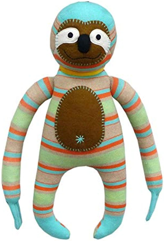Angus Mint & Cream Stripes Sloth  Soft Toy Nursery Décor Plush Figure 50cm