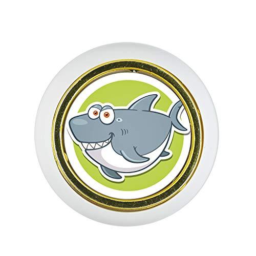 Möbelknopf Kunststoff Klein & Elegant KST03247W Weiss Tier Cartoon Lustig Fisch Hai Motiv - Kleine Universal Möbelknöpfe für Schrank, Schublade, Kommode, Tür, Küche, Bad, Haushalt Kinder Kinderzimmer