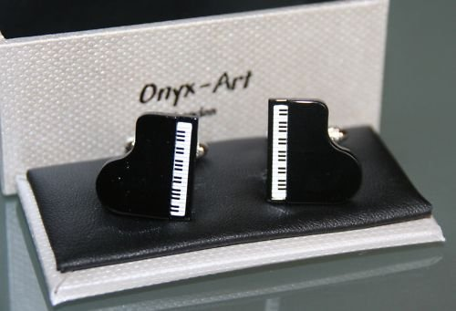 Black Grand Piano top foot silver-plated torpedo cufflinks in padded gift box