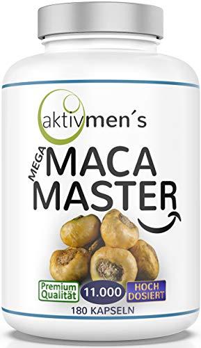 aktivmen´s MACA 11.000 hochdosiert, 180 Kapseln, Maca Wurzel Extrakt 10:1, 1 Dose (1x117g) vegan + ohne Füll- und Trennmittel - hergestellt mit Maca Wurzeln aus Peru - von Experten* geprüft