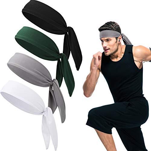 4 Stücke Tennis Krawatte Stirnband Kopf Krawatte Tennis Bandana Elastisch Sport Schweißband Dehnbare Stirnbänder Verstellbares Rutschfestes Stirnband für Frauen Männer Laufen Sporttraining Workout