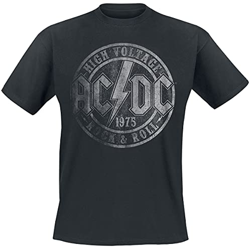 AC/DC High Voltage 1975 Männer T-Shirt schwarz L 100% Baumwolle Band-Merch, Bands