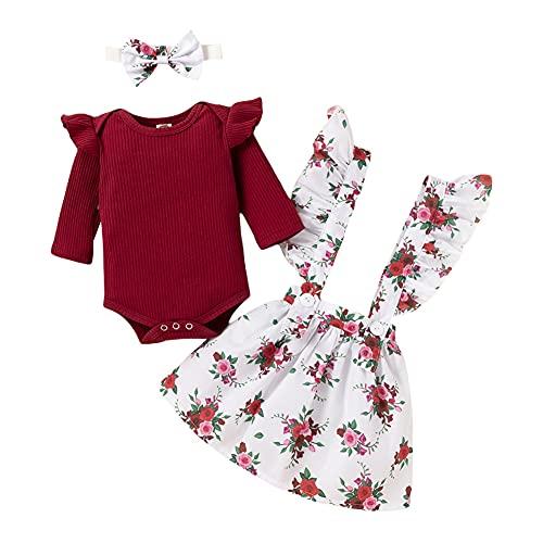 URMAGIC Conjuntos de Faldas para niñas bebés Mono de Mameluco de Color sólido Faldas con Tirantes Florales Ropa para 0-24 Meses