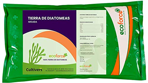CULTIVERS Tierra de Diatomeas 1 kg Molienda. 100% Natural y Ecológico. No Calcinada de Alta pureza, sin tratamientos ni residuo