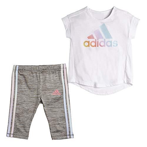adidas Baby Girls Li'l Sport Short Sleeve Top & Capri Legging Clothing Set, White, 18 Months