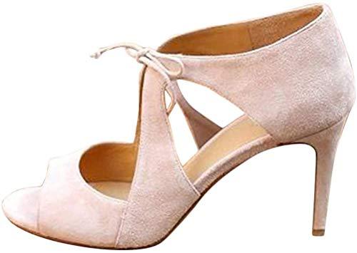 Minetom Sandals Mujer Zapatos Tacón Alto Aguja Fiesta Moda Prom Verano Sandalias Elegantes Novia Correa De Tobillo Peep Toe High Heels Beige 39 EU