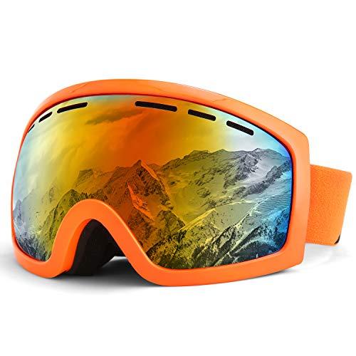 KUTOOK スキーゴーグル スノーゴーグル 球面レンズ 曇り防止 防風 防塵 3層スポンジ 紫外線カット 耐衝撃 登山/スキー/バイク/アウトドアスポーツに全面適用 男女兼用 メガネ対応