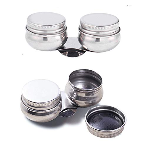 EORTA 2 Pack Portable Pallete Cups Stainless Steel Double Dipper Large Mouth Paint Cleaning Container with Screw Cap and Clip for Watercolor, Gouache, Acrylic and Oil Paint