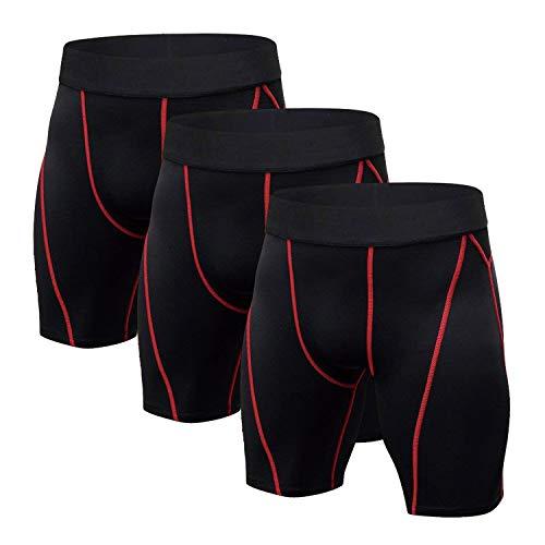 Niksa Sport Tights männer 3er Pack sportunterhosen kurz kompressionshosen Schwarz Herren laufunterwäsche funktionsunterwäsche L