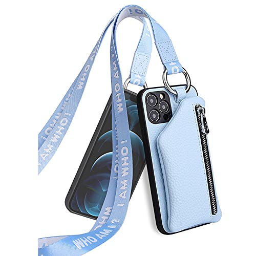 Funda con Cuerda Compatible para iphone12 Pro MAX Lanyard Monedero Estuche de Cuero de Marca de Moda 1 Billetera/Tarjetero,Blue,6plus