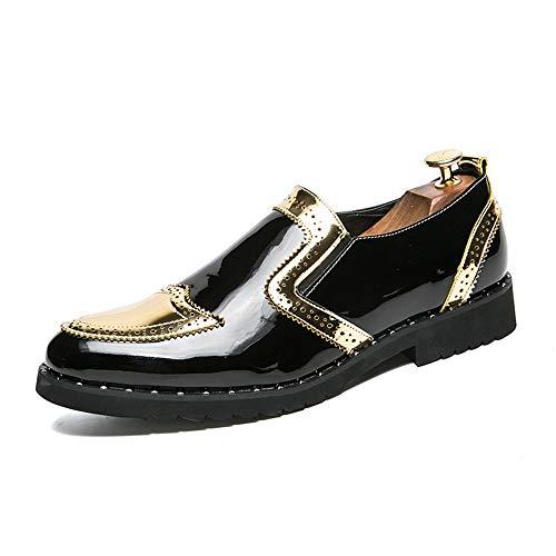 Zhulongjin Herren Business Oxfords Brogue Schuhe for Herren Anzugschuhe Slipper Weiche Mikrofaser Lackleder Antislip Sohle Blockabsatz Mode Verschleißfest (Farbe : Gold, Größe : 46 EU)