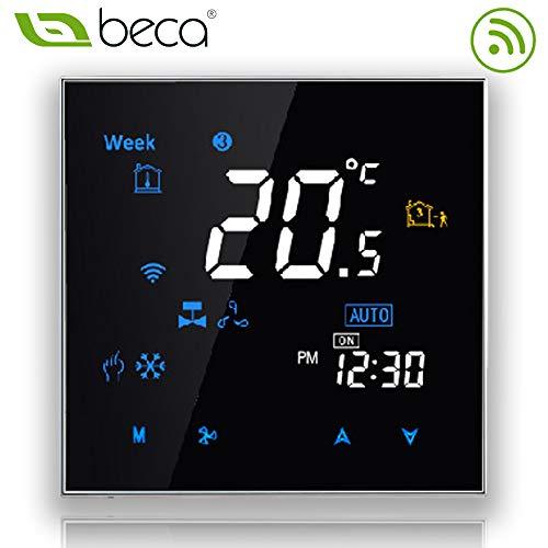 Termostato programable Beca 3000 Series 95 ~ 240VAC dos / cuatro tubos para aire acondicionado Fan Coil con conexión wifi para soporte Intelligent Voice (Cuatro tubos, Negro)