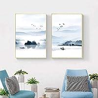 マウンテンボートレイク抽象芸術キャンバス絵画リビングルーム寝室カフェインターネット北欧スタイルの壁アート写真-42x60cmx2個フレームなし