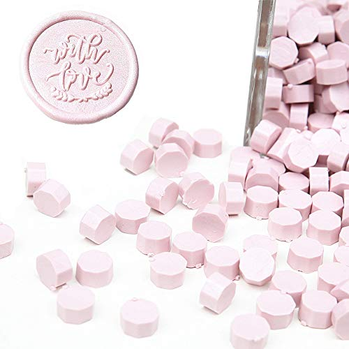 UNIQOOO Arts & Crafts 180 Pcs Pastel Sakura Pink Box Sealing Wax Beads Nuggets for Wax Seal Stamp, Great for Embellishment of Cards Envelopes, Wedding Invitations, Wine Packages, Gift Wrapping