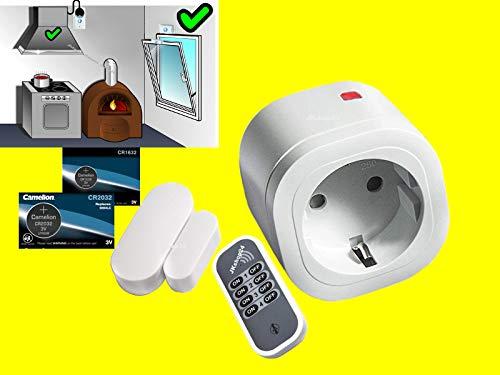 Mini FUNK-Abluftsteuerung-SET für Dunstabzugshaube,Klimaanlage,etc. bei Betrieb von Ofen,Kamin,Therme | Intertechno Power-Zwischenstecker 3000W+Mini-Fensterkontakt-Sensor+Ersatzbatterie mit Handsender