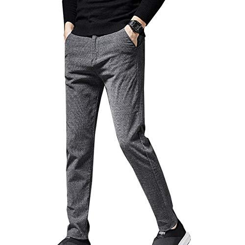 XYJD Otoño e Invierno más Pantalones Casuales Gruesos de Terciopelo Pantalones Largos de Moda para Hombres Rectos pequeños elásticos para jóvenes para Hombres