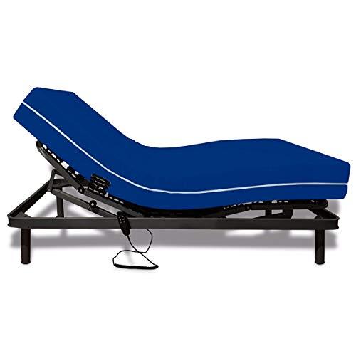 Duermete Cama Eléctrica Articulada Reforzada 5 Planos + Colchón Hospitalario Sanitario Basic HR Funda Impermeable, Pack, 90x190