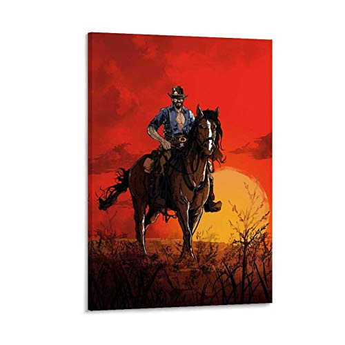 JIEJU Fanart Red Dead Redemption 2 Poster dekorative Malerei Leinwand Wandkunst Wohnzimmer Poster Schlafzimmer Malerei 12x18inch(30x45cm)