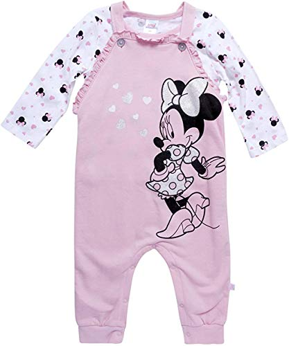 Disney Baby Girls' Minnie Mouse 2 Piece Overall Set - Fleece Romper Long Sleeve T-Shirt Set (Newborn/Infant), Light Pink/White, Size 3-6M