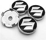 4 Piezas Tapas Centrales para Suzuki-CELERIO Spacia Baleno SX4 Vitara Jimny 56mm/60mm, Coche Llanta Rueda Cubre Embellecedor Insignia, Emblema Logo Accesorios