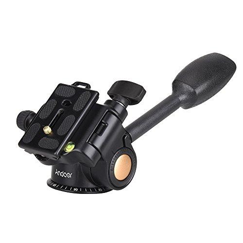 Andoer QZSD Q08 Video Stativ Kugelkopf 3-Wege Fluid Head Kipphebel mit Schnellwechselplatte für DSLR Kamera-Stativ Einbeinstativ