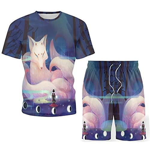 WBLKD Estate da Uomo Casual 2 Pezzi Set T-Shirt Manica Corta T-Shirt E Pantaloncini Stampa 3D Stampa Fox Tracksuit Set B-M
