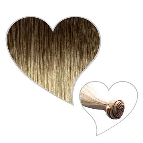 GLOBAL EXTEND® Haartresse 60 cm Balayage ombré #8B/615 aschbraun/eisblond Echthaar 1 m Tresse zum Einnähen Flechten Microring Remy Hair Weave Sew in Extensions Echthaartresse