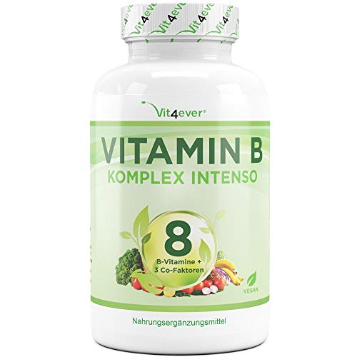 Vitamin B Komplex Intenso - 180 Kapseln (6 Monate) - Premium: 8 B-Vitamine + 3 Co-Faktoren – Bis zu 10-fach höher dosiert als andere Vitamin B Komplexe - Laborgeprüft - Hochdosiert - Vegan