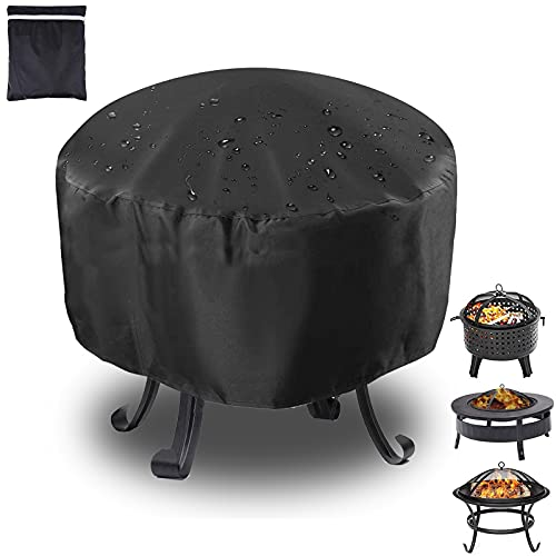 Einemgeld Fire Pit Cover, Heavy Duty Outdoor Waterproof Heater Cover, Oxford Fabric Dustproof and Anti UV, Round Garden Patio Protective Cover, All-Season Protection (80 * 80 * 65cm)
