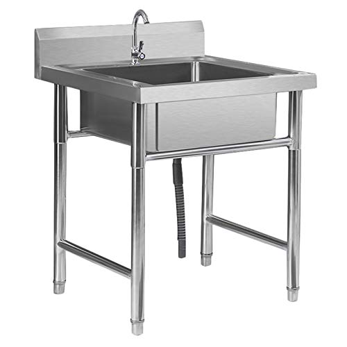 LIYANJJ Commercial Sink, Stainless Steel Kitchen Utility Sink with 360 Degree Rotation Faucet and Backsplash, Garage Kitchen Laundry Utility Room Outdoor