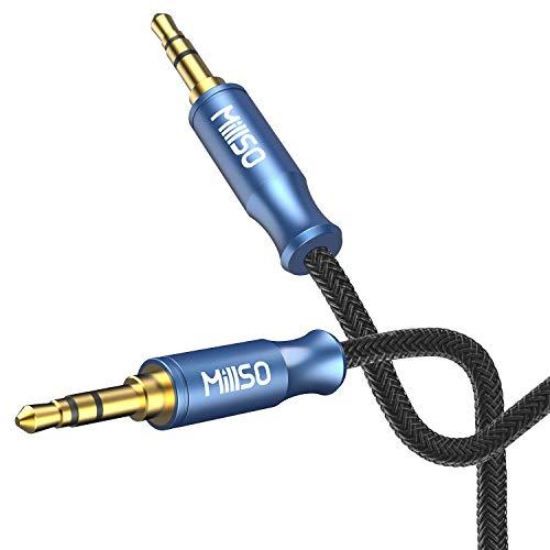 MillSO Klinkenkabel 3.5 mm Stecker zu 3.5 mm Stecker mit vierfachem Abschirmung TRS Aux Kabel für Smartphone, MP3 Player, Tablet PC, Autos & andere Stereo Geräte-[MeerBlau Junge Serie]-240cm