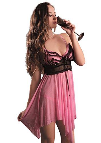 Josi Minea Damen Reizwäsche Set Sexy Dessous Elegant Stil Design - Pink - Groß