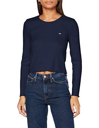 Tommy Jeans Damen TJW Rib Crop Longsleeve Hemd, Marineblau (Twilight Navy), Small