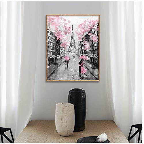 Jin Yi Global Canvas Art Parijs Eiffell Tower Landschap olieverfschilderij paar met paraplu abstracte poster print wandafbeeldingen voor de woonkamer - 50x70cm zonder lijst
