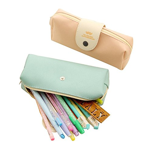 Mziart Minimalist Style Cartoon Bearded Pencil Case Pencil Pouch Cosmetic Makeup Bag, Set of 2