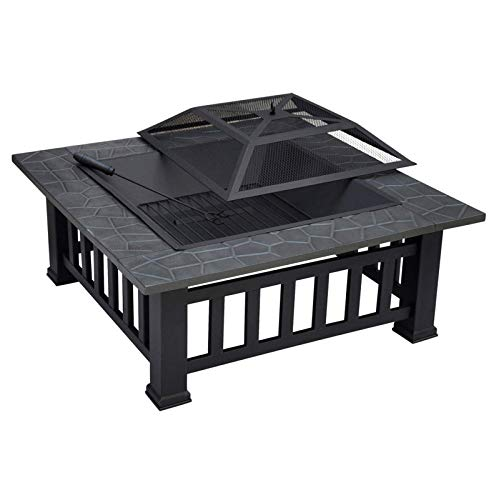 Fire Pit Table with BBQ Grill Shelf, Square Firepit with Waterproof Cover, Metal Brazier for Garden Patio Outdoor, Barbecue, Heater