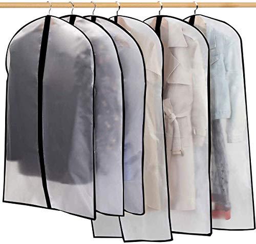 LUOWAN Clothes Covers Garment Covers Bags Suit Bag Clear Garment Bag EVA Dustproof Waterproof Anti-Moth Suit Covers with zipper for Suit, Coat, Dress Closet Clothes Storage (60x 100/120Cm PEVA 6pcs)