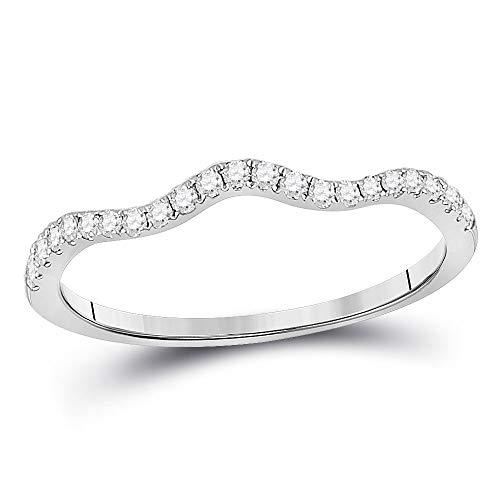Diamond2Deal Anillo de oro blanco de 10 quilates con diamante redondo contorneado apilable para mujeres de 1/5 cttw