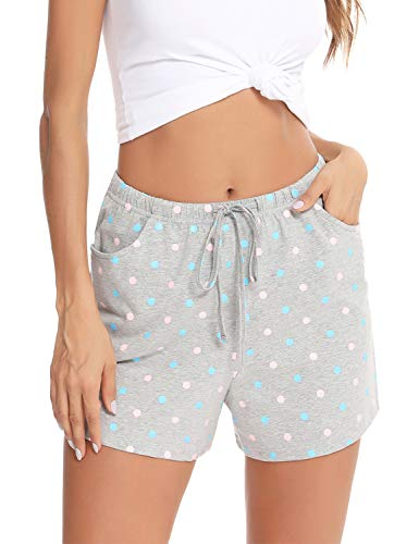 EISHOPEER Women's Dot Pattern Pajama Shorts Sleeping Bottoms Exercise Activewear with Pockets Gray S