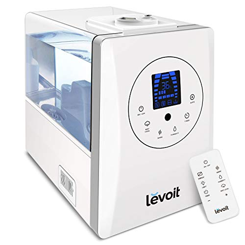 LEVOIT Humidifiers, 6L Warm and Cool Mist Ultrasonic Humidifier for Bedroom and Babies with Remote and Humidity Monitor, Vaporizer for Large Room, Home, Germ Free and Whisper-Quiet, 2-year Warranty